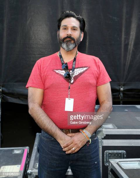 Master of Ceremonies DJ Del Villarreal poses backstage during the Viva Las Vegas Rockabilly Weekend's car show at the Orleans Arena on April 20 2019...