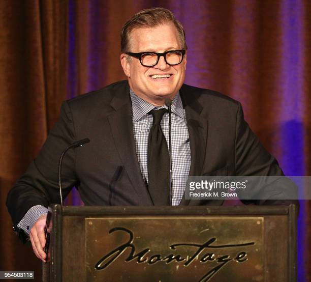 Master of Ceremonies Drew Carey speaks during the Beverly Hills Bar Association's 2018 Entertainment Lawyer of the Year Dinner at the Montage Beverly...