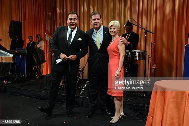 Master of Ceremonies John Quiñones Boston Mayor Marty Walsh and Sandra Fenwick CEO and President Boston Children's Hospital at the 6th annual...