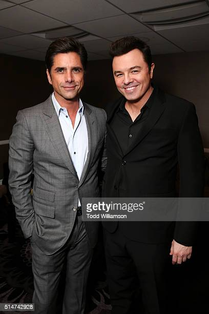 Master of Ceremonies John Stamos and Presenter Seth MacFarlane attend the Alliance for Children's Rights' 24th annual dinner at The Beverly Hilton...