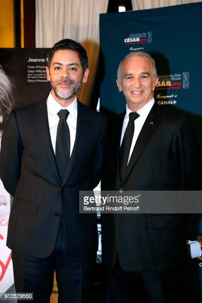 Master of Ceremonies of the 43rd Cesar Ceremony Manu Payet and President of the Academy of Arts and Techniques of Cinema Alain Terzian attend the...