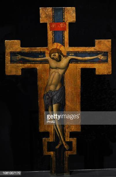 Master of the blue crucifixes Processional cross painted on both sides 12651275 WallrafRichartz Museum Cologne Germany