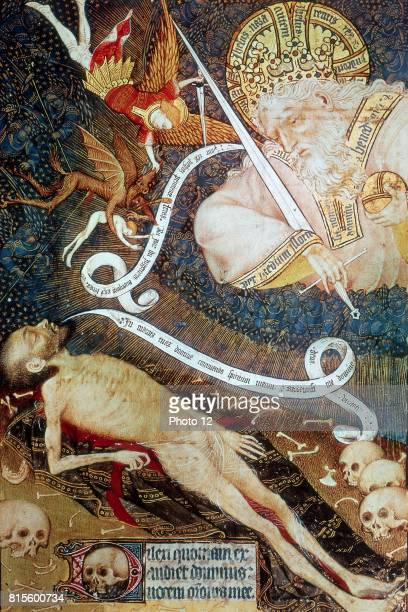 Master of the Hours of Rohan Death before God the Judge At top left St Michael the Archangel is expelling Lucifer from Heaven Manuscript Bibliotheque...