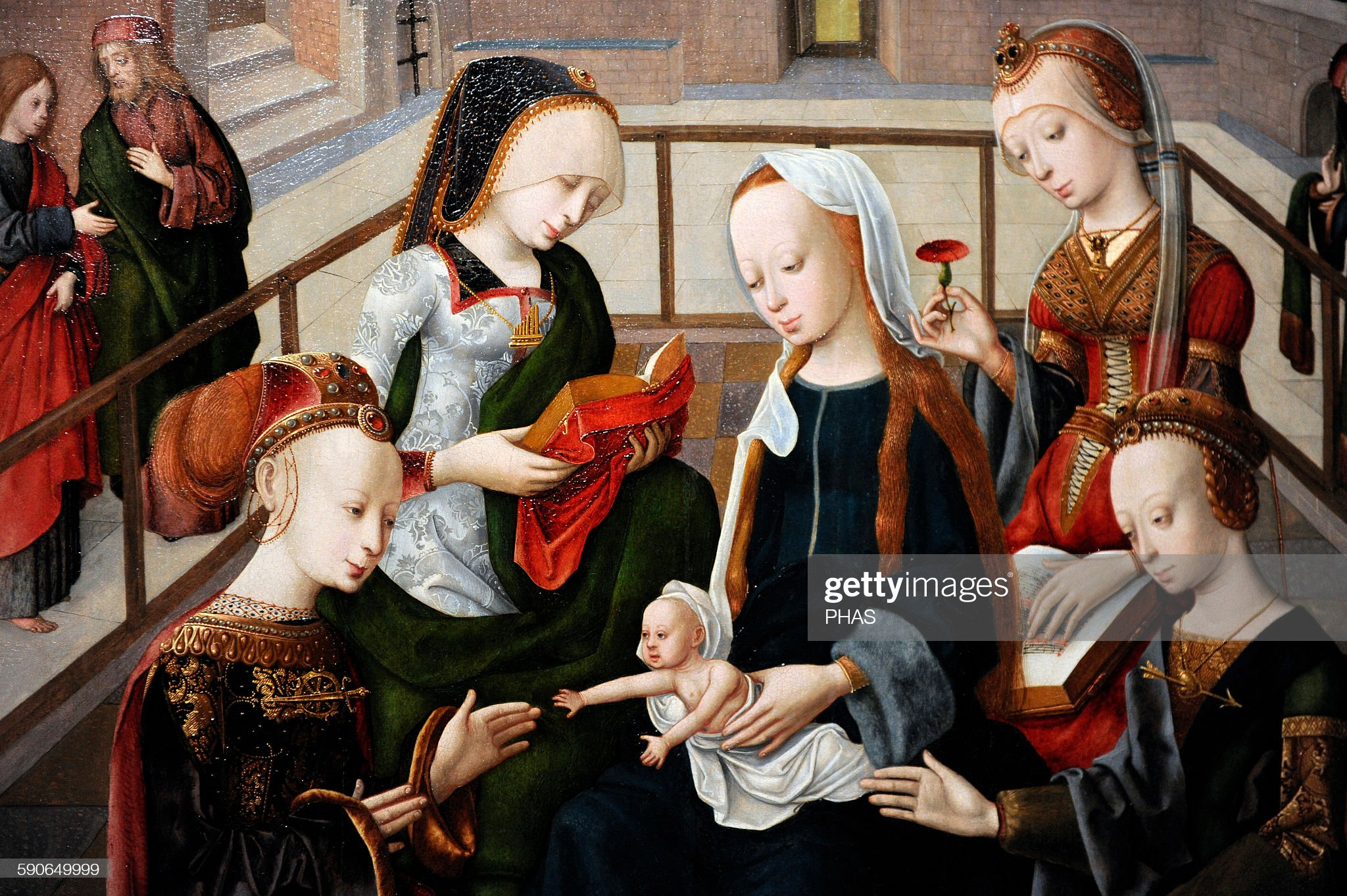 master-of-the-virgo-inter-virgines-the-virgin-and-child-with-four-c-picture-id590649999
