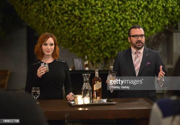 Master of Whisky Stephen Wilson joins Christina Hendricks toast Johnnie Walker Platinum Label at Santa Monica Museum of Art on October 22, 2013 in...