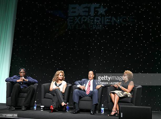 Master P CEO of Act1 Personnel Services Janice Bryant Howroyd author Dr Dennis Kimbro and CEO of Madison Media Management Paula Madison speak onstage...