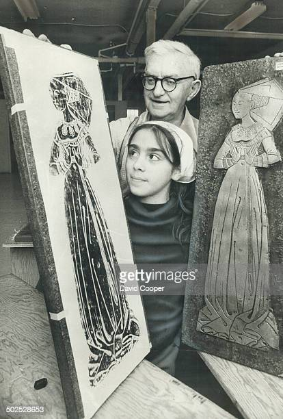 Master passes on his Art Instructor Harry inspects the work of Maria Dutra 11 one of 35 Grade 6 pupils from St Veronica School who visited the Brass...