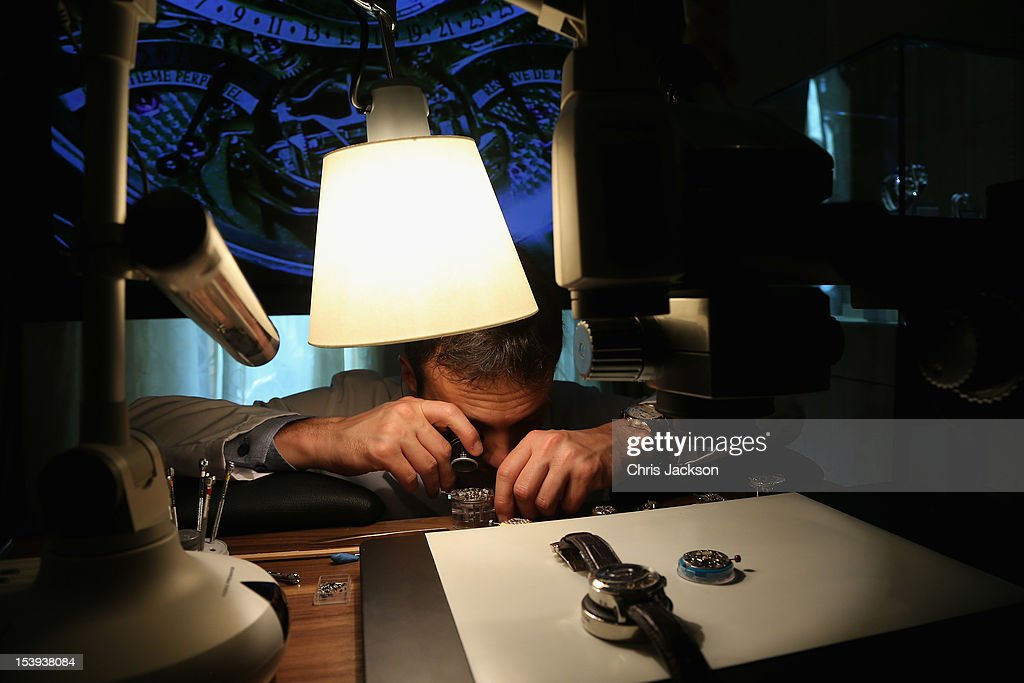 Master Watch Maker Gregory Vandel works on the movements in the Jaeger Le-Coultre suite at the Emirates Palace Hotel at Abu Dhabi Film Festival 2012 at Emirates Palace on October 11, 2012 in Abu Dhabi, United Arab Emirates.
