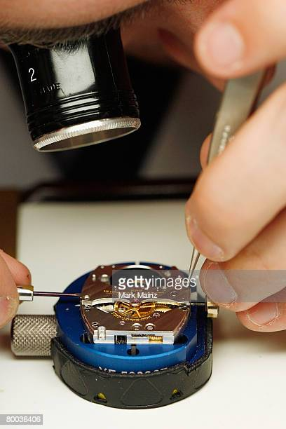 Master watchmaker Mikaen Conus works during the Vacheron Constantin Metiers d' Art press preview at Sotheby's February 27 2008 in Beverly Hills...