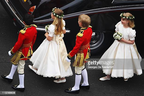 Master William LowtherPinkerton Lady Louise Windsor Tom Pettifer and Margarita ArmstrongJones arrive for the Royal Wedding of Prince William to...