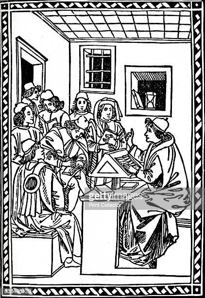 Master with his Students 1492 This image introducing Landino's manual for secretarial writing is considered one of the finest woodcuts produced in...