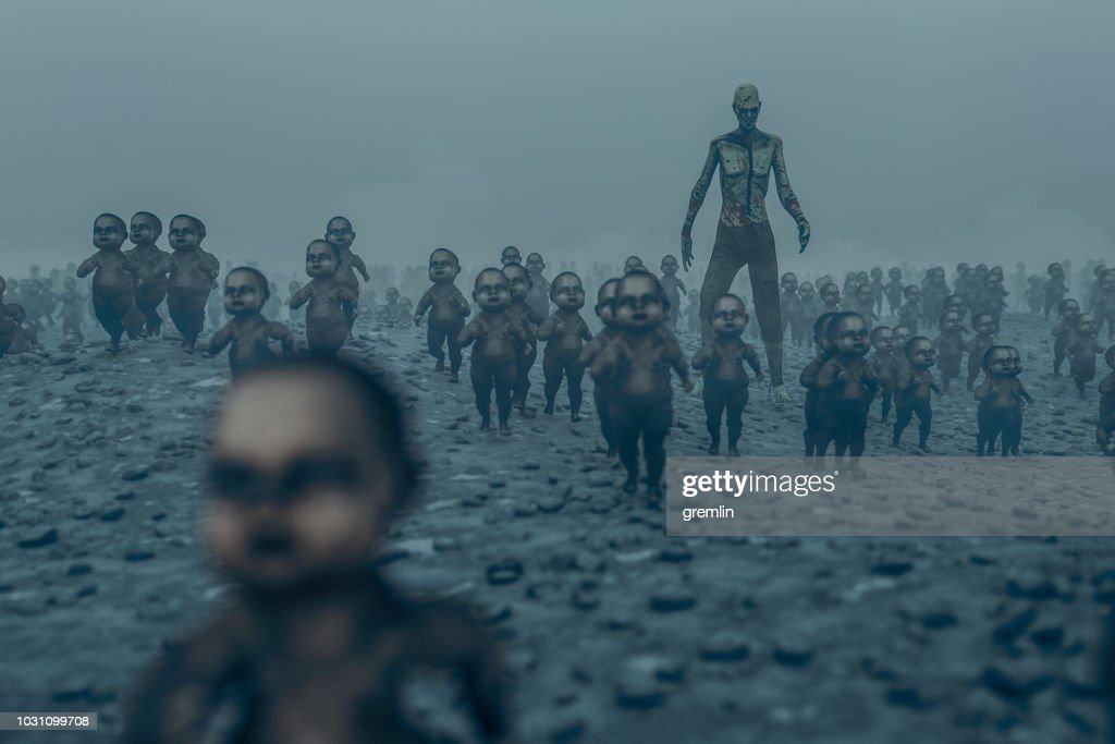 Master zombie with walking dead zombie children : Stock Photo