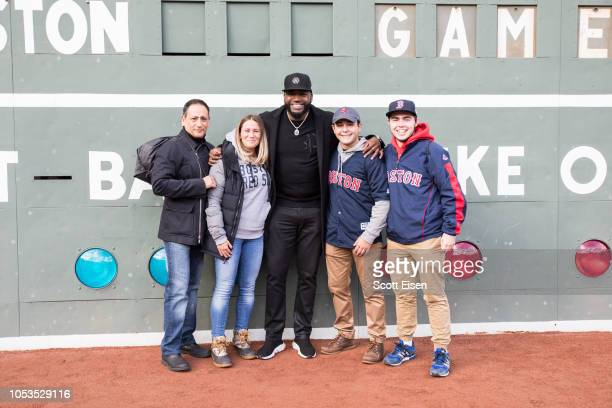Mastercard and David Ortiz surprise Red Sox fans from inside Fenway Parks Green Monster before Game 2 of the MLB World Series on October 24 2018 in...