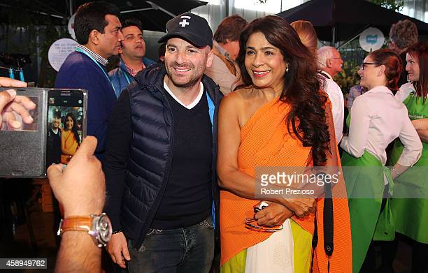Masterchef judge George Calombaris and Rashmi Uday Singh from India attend the Restaurant Australia Marketplace event at Macquarie Wharf on November...