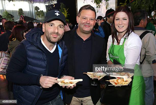 Masterchef judges George Calombaris and Gary Mehigan attend the Restaurant Australia Marketplace event at Macquarie Wharf on November 14 2014 in...