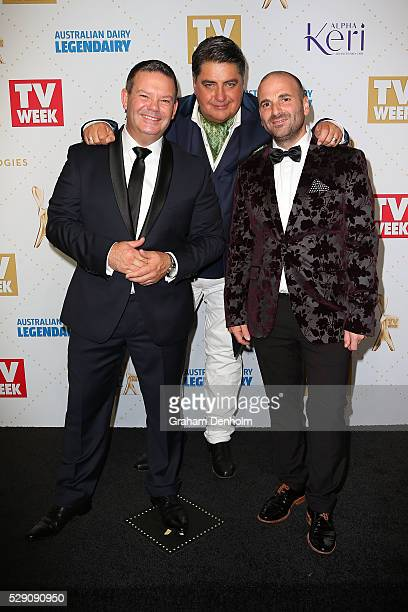 Masterchef judges George Calombaris Matt Preston and Gary Mehigan arrive at the 58th Annual Logie Awards at Crown Palladium on May 8 2016 in...