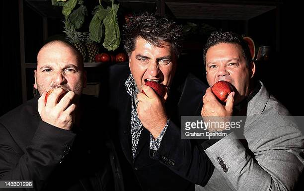 Masterchef judges George Calombaris Matt Preston and Gary Mehigan attend the Masterchef Australia Network Ten launch party launching the new series...