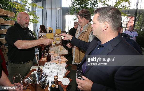 Masterchef judges Matt Preston and Gary Mehigan attend the Restaurant Australia Marketplace event at Macquarie Wharf on November 14 2014 in Hobart...