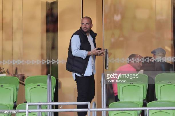 MasterChef star and Victory supporter George Calombaris watches the match from a corporate box during the round 21 ALeague match between Melbourne...
