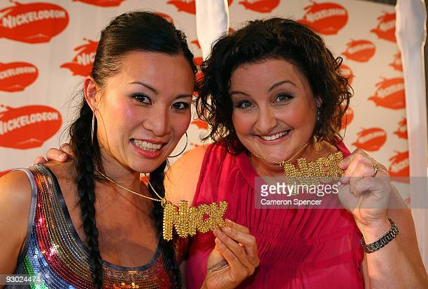 Masterchef winner and runnerup Julie Goodwin and Poh Ling Yeow pose with in the award room following their award for Fave Reality Show for Master...