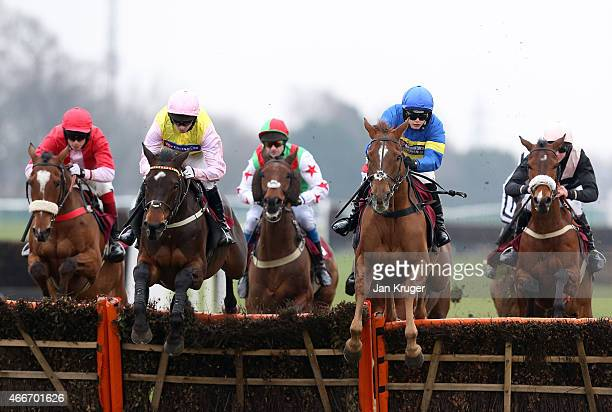 Masterful Act ridden by Miss B. Andrews jumps a fence ahead of the pack in the ApolloBet Enhanced Racing Specials Handicap Hurdle Race during Irish...