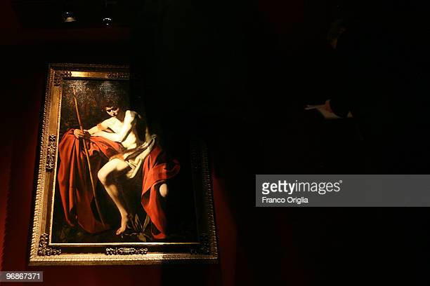 Masterpiece of Caravaggio 'John the Baptist' is shown at the Scuderie Del Quirinale during the 'Caravaggio' opening Exibithion on February 19 2010 in...