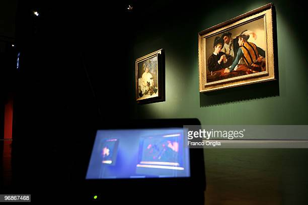 Masterpiece of Caravaggio 'The Cardsharps' is shown at the Scuderie Del Quirinale during the 'Caravaggio' opening Exibithion on February 19 2010 in...