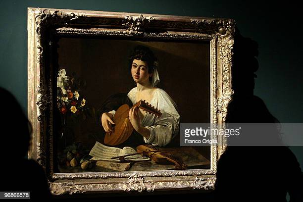 Masterpiece of Caravaggio 'The Lute Player' is shown at the Scuderie Del Quirinale during the 'Caravaggio' opening Exibithion on February 19 2010 in...