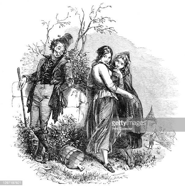 Masterpiece of graphic humour, 1844. A man flirts with two young women: 'There's our beautiful eye of grey, Sir, And our blue one that seems to say,...
