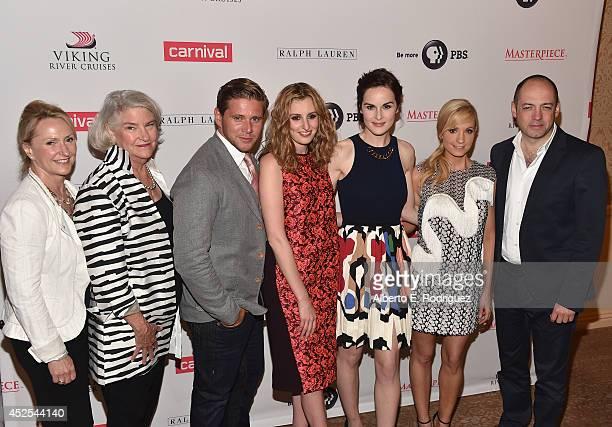 Masterpiece producer Susanne Simpson, Masterpiece executive producer Rebecca Eaton, actors Allen Leech, Laura Carmichael, Michelle Dockery, Joanne...