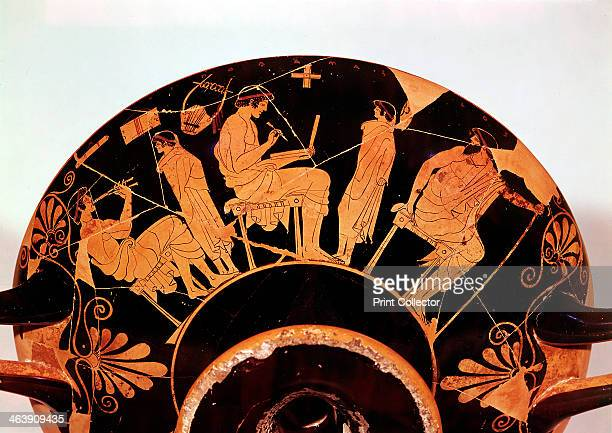 Masters and pupils at the Athenian school where studies included music Greek red figure vessel From the Staatliche Museum Berlin