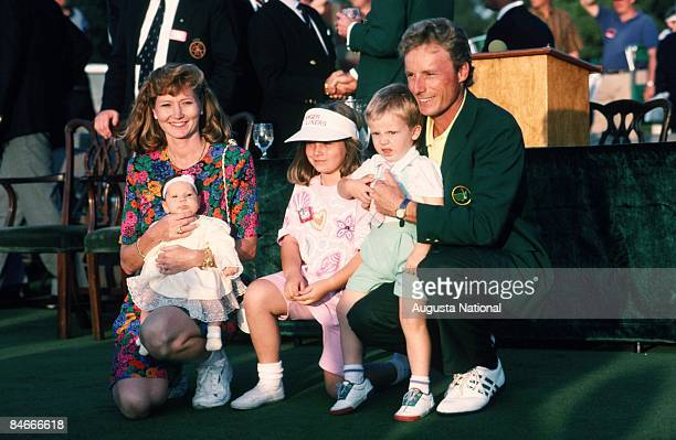 Masters Champion Bernhard Langer poses with his wife Vikki Carol and children Jackie Stefan and Christina at the Presentation Ceremony during the...