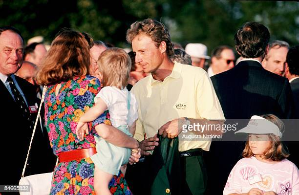 Masters Champion Bernhard Langer talks with his wife Vikki with his son Stefan and daughter Jackie at the Presentation Ceremony during the 1993...