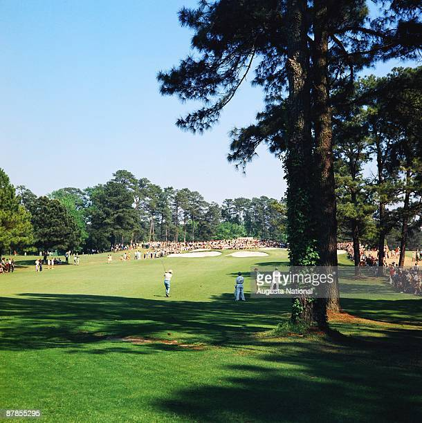 Masters Champion Bob Goalby hits from the seventh fairway during the 1968 Masters Tournament at Augusta National Golf Club in April 1968 in Augusta...