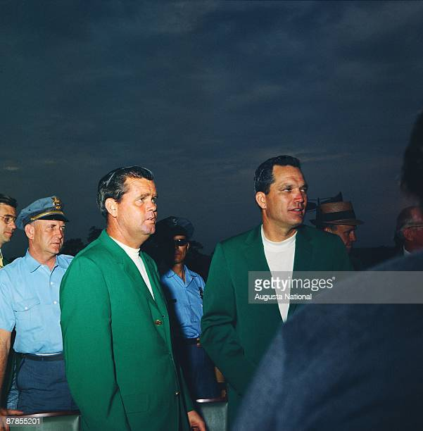 Masters Champion Bob Goalby stands with 1967 Masters Champion Gay Brewer at the Presentation Ceremony during the 1968 Masters Tournament at Augusta...