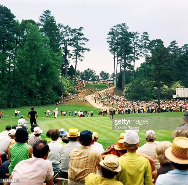 Masters Champion Bob Goalby waits to putt on the 15th green during the 1968 Masters Tournament at Augusta National Golf Club in April 1968 in Augusta...