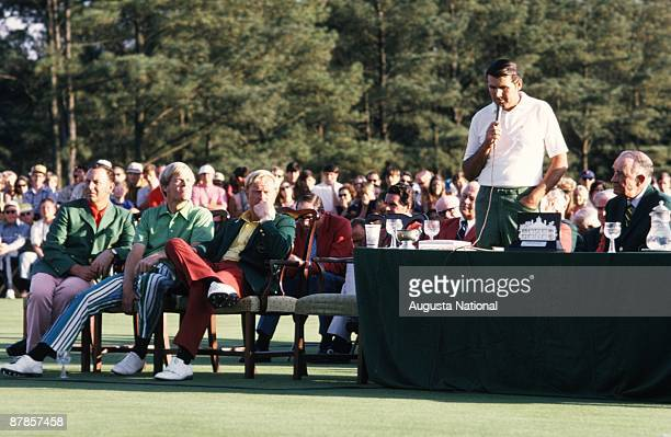 Masters Champion Charles Coody speaks at the Presentation Ceremony with Billy Casper Johnny Miller and Jack Nicklaus during the 1971 Masters...