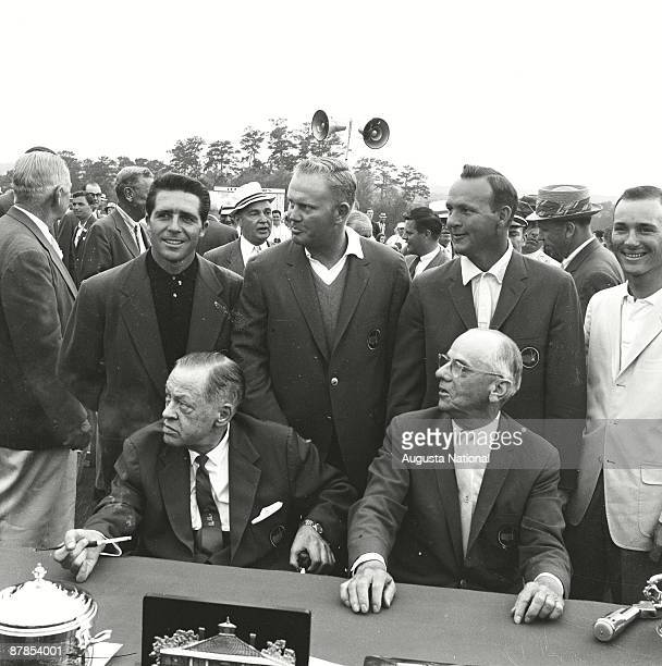 1961 Masters Champion Gary Player 1962 Masters Champion Arnold Palmer 1965 Masters Champion Jack Nicklaus and Low Amateur A Downing Gray stand as...