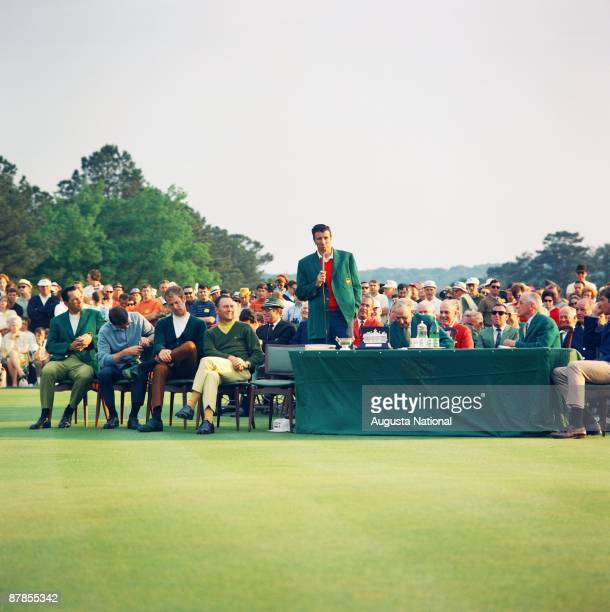 Masters Champion George Archer speaks at the Presentation Ceremony during the 1969 Masters Tournament at Augusta National Golf Club on April 13th...