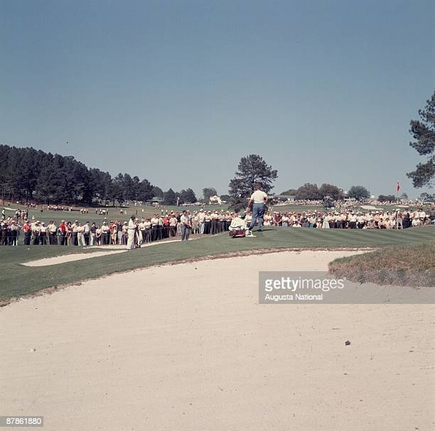 Masters Champion Jack Nicklaus hits from a bunker on the seventh green during the 1963 Masters Tournament at Augusta National Golf Club on April 1963...