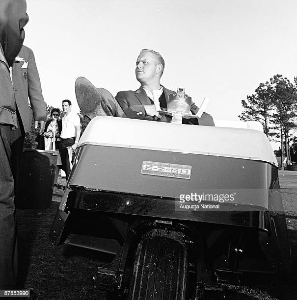 Masters Champion Jack Nicklaus reclines on a golf cart after his first win during the 1963 Masters Tournament at Augusta National Golf Club 0n April...