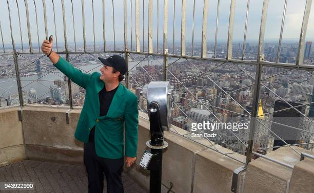 Masters Champion Patrick Reed takes a selfie from the Empire State Building during the Masters winner media tour throughout New York City on April 9...