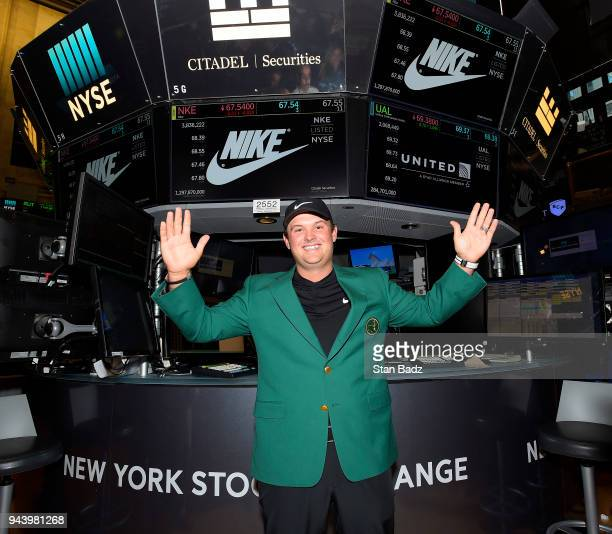 Masters Champion Patrick Reed visits Nike brand area of the New York Stock Exchange building during the Masters winner media tour throughout New York...