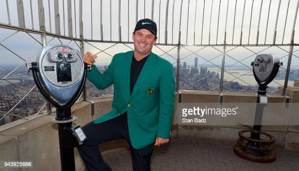 Masters Champion Patrick Reed visits the Empire State Building during the Masters winner media tour throughout New York City on April 9 2018 in New...