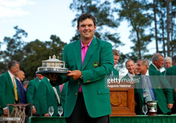 Masters champion Patrick Reed with the Masters Tournament Trophy after the final round of the Masters at Augusta National Golf Club on Sunday April 8...