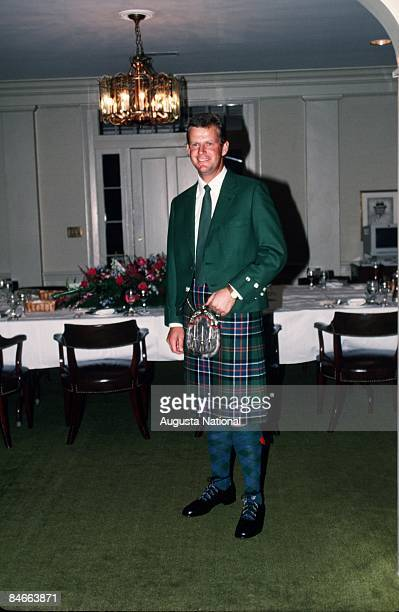 Masters Champion Sandy Lyle poses in the dining room of the Clubhouse during the 1989 Masters Tournament at Augusta National Golf Club in April 1989...