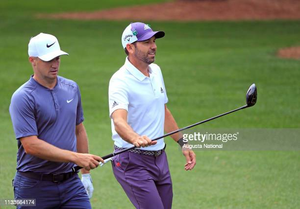 Masters champion Sergio Garcia of Spain and Alex Noren of Sweden on No 4 during Practice Round 1 for the Masters at Augusta National Golf Club Monday...