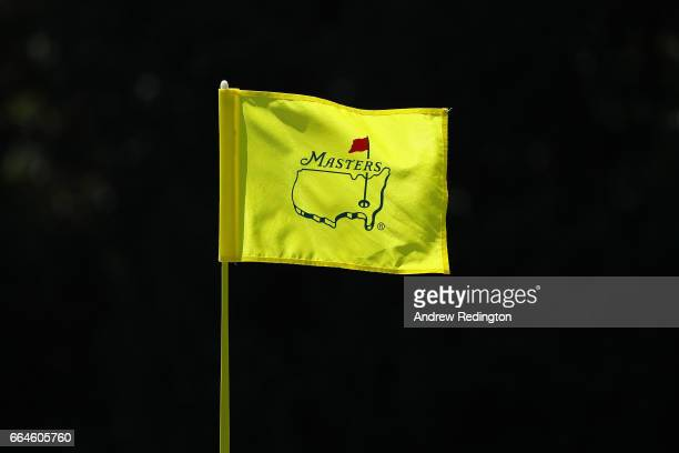 Masters flag blows in the breeze during a practice round prior to the start of the 2017 Masters Tournament at Augusta National Golf Club on April 4...