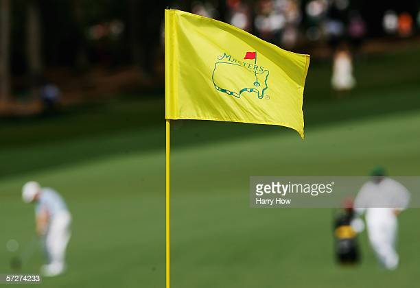Masters flag is shown as Rory Sabbatini hits a shot during the second round of The Masters at the Augusta National Golf Club on April 7 2006 in...