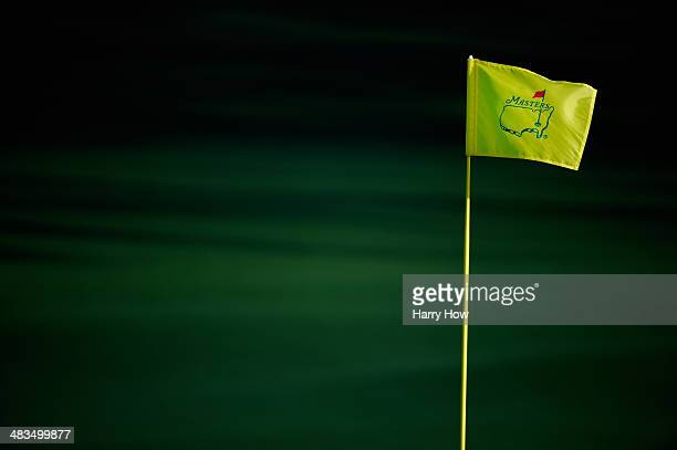 Masters flagstick is seen during a practice round prior to the start of the 2014 Masters Tournament at Augusta National Golf Club on April 9 2014 in...